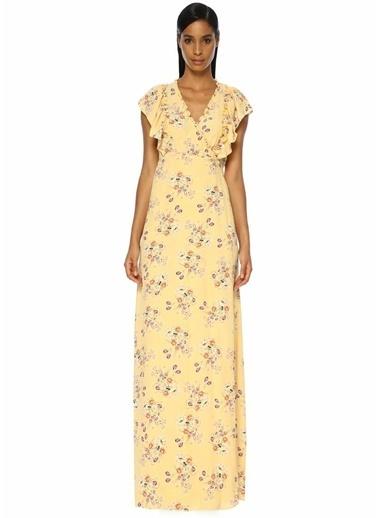 By Timo Bohemian Çiçek Baskılı Fırfırlı Maxi Elbise Sarı
